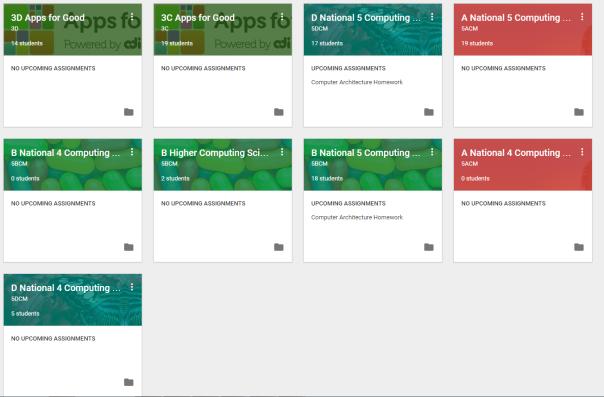 The main dashboard for Google Classroom