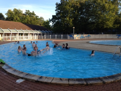 Fun in the outdoor swimming pool
