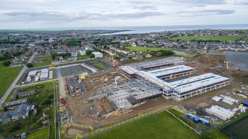 An aerial view of Wick Community Campus. (kindly donated by Chris Sinclair)