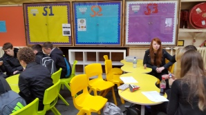 Our pupils enjoy the new furniture in the Crush Hall.