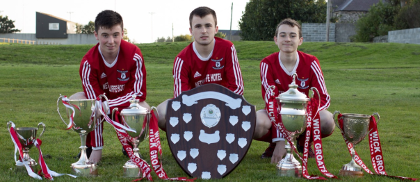 (From Left) Kyle Henderson, Ross Davidson and Colin Henstridge with the historic haul of silverware.