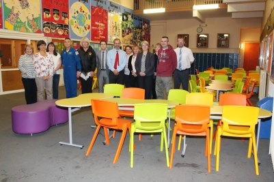 Members of the school SMT, Parent Council and Duane and his wife Cheryl enjoy the new seating in the Crush Hall