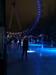 Ice skating at the foot of The London Eye
