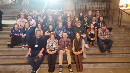 The group inside the Houses of Parliament