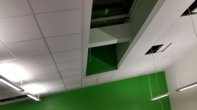Classroom ceiling showing skylight windows