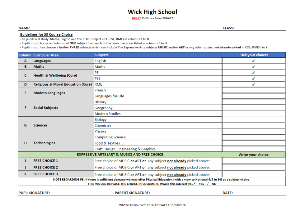 S3 Draft Choice Form Issued Today | Wick High School