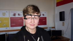 Connah wearing the hi-tech glasses