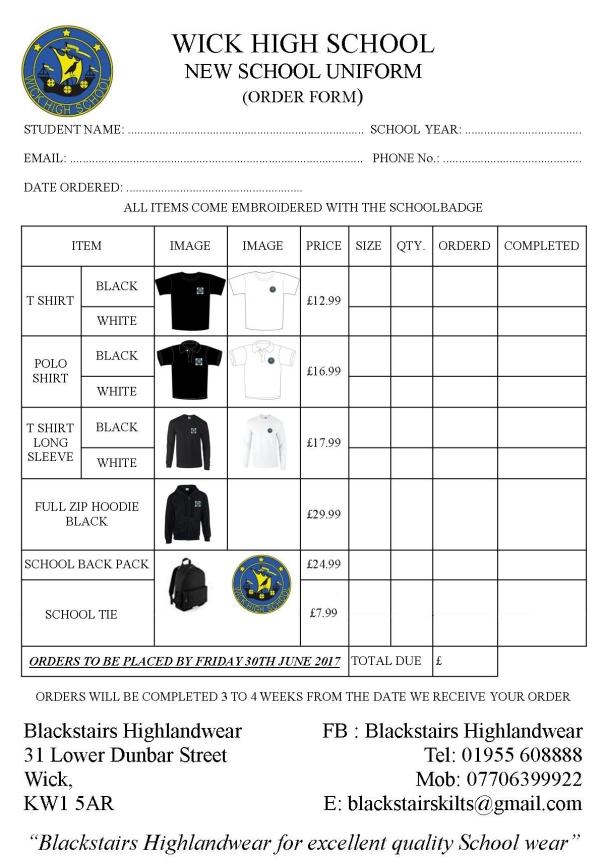 WHS Order Sheet