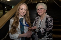 Dux of the school, Clarabelle Martins, receiving her medal from Mrs Ishbel McBoyle