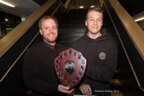 Jay Barrett receiving the Subsea 7 Award from Technical & Art Faculty Head, Mr Ross.