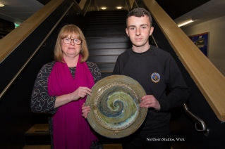 Owen Mathieson, winner of the Kevin Costello Prize for Endeavour in Science, presented by Mrs Michelle Costello